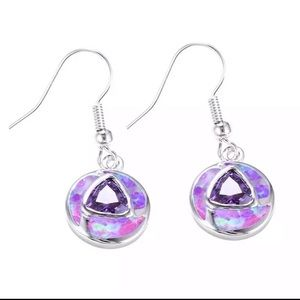 Sterling Silver Amethyst Purple Opal Earrings
